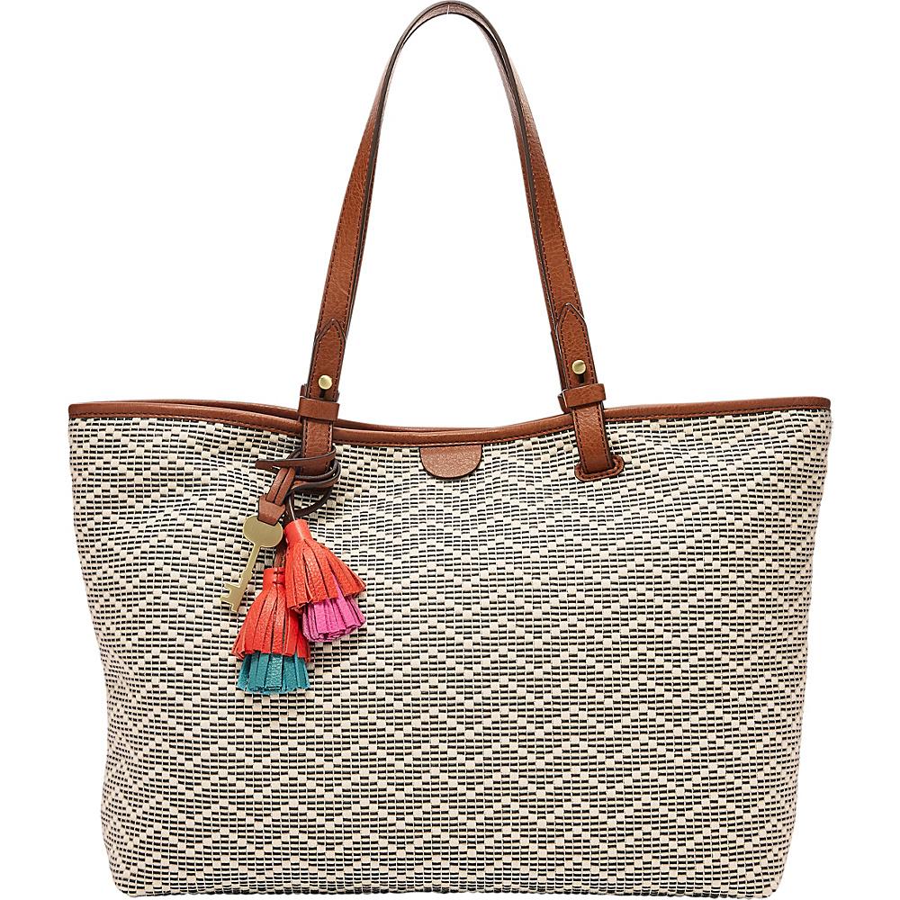 Fossil Rachel Tote Neutral Stripe - Fossil Manmade Handbags - Handbags, Manmade Handbags