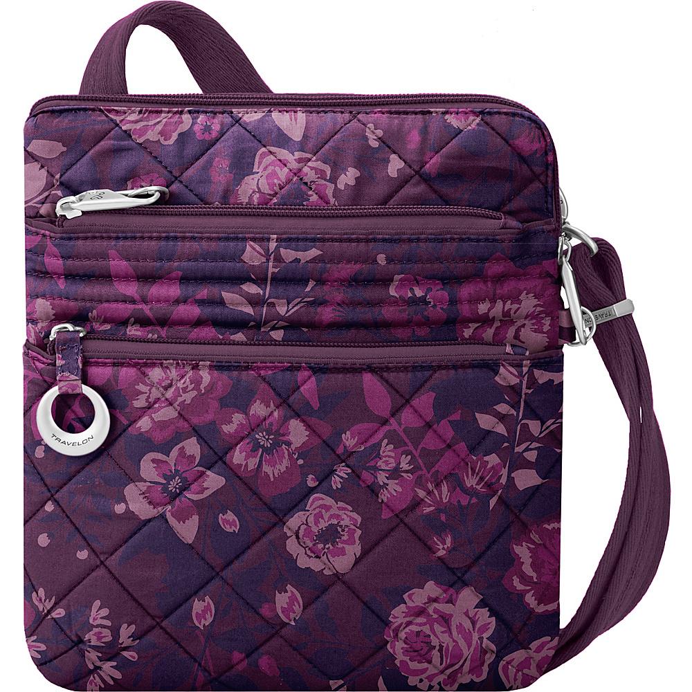 Travelon Anti-Theft Boho Slim Bag Wine Rose/Fawn Interior - Travelon Leather Handbags - Handbags, Leather Handbags
