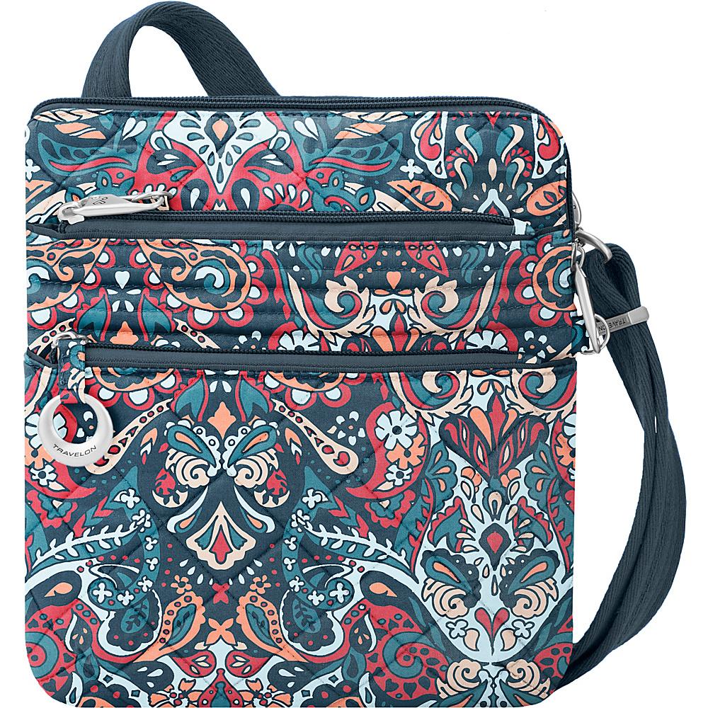 Travelon Anti-Theft Boho Slim Bag Summer Paisley/Deep Turquoise Interior - Travelon Leather Handbags - Handbags, Leather Handbags