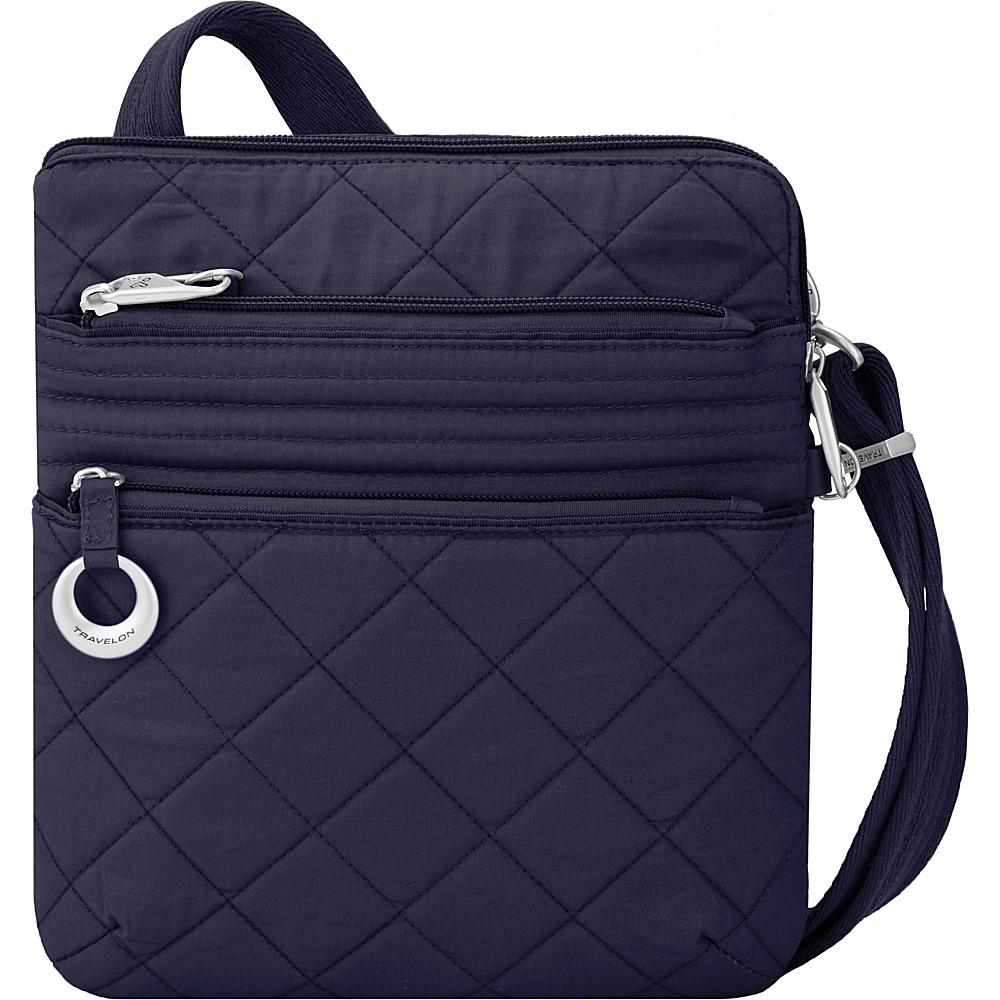 Travelon Anti-Theft Boho Slim Bag Navy/Leaf Interior - Travelon Leather Handbags - Handbags, Leather Handbags