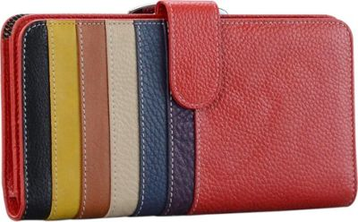 R & R Collections Ladies Multi Stripe Wallet Red - R & R Collections Women's Wallets