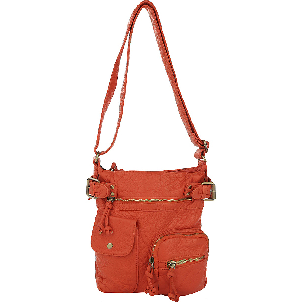 MKF Collection by Mia K. Farrow Vintage Stiella Multi-Pocket Crossbody Orange - MKF Collection by Mia K. Farrow Manmade Handbags - Handbags, Manmade Handbags