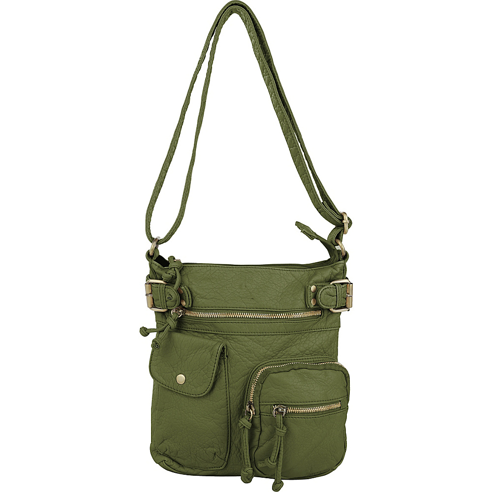 MKF Collection by Mia K. Farrow Vintage Stiella Multi-Pocket Crossbody Green - MKF Collection by Mia K. Farrow Manmade Handbags - Handbags, Manmade Handbags