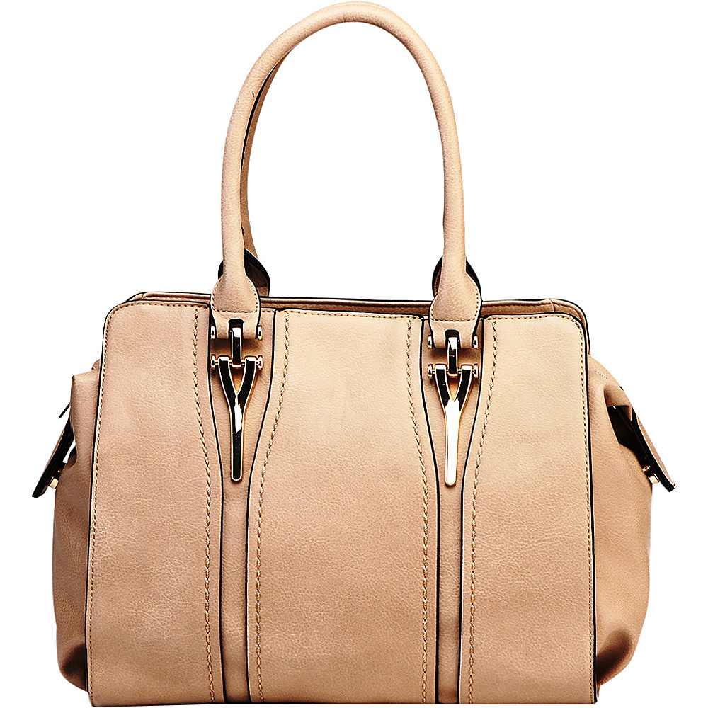 MKF Collection by Mia K. Farrow Gussie Satchel with Removable Shoulder Strap Beige - MKF Collection by Mia K. Farrow Manmade Handbags - Handbags, Manmade Handbags