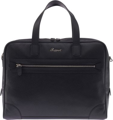 Rapport London Berkeley Grain Top-Zip Leather Messenger Briefcase Black - Rapport London Non-Wheeled Business Cases