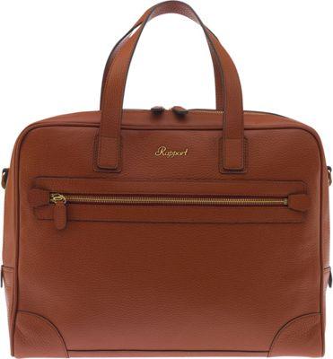 Rapport London Berkeley Grain Top-Zip Leather Messenger Briefcase Brown - Rapport London Non-Wheeled Business Cases