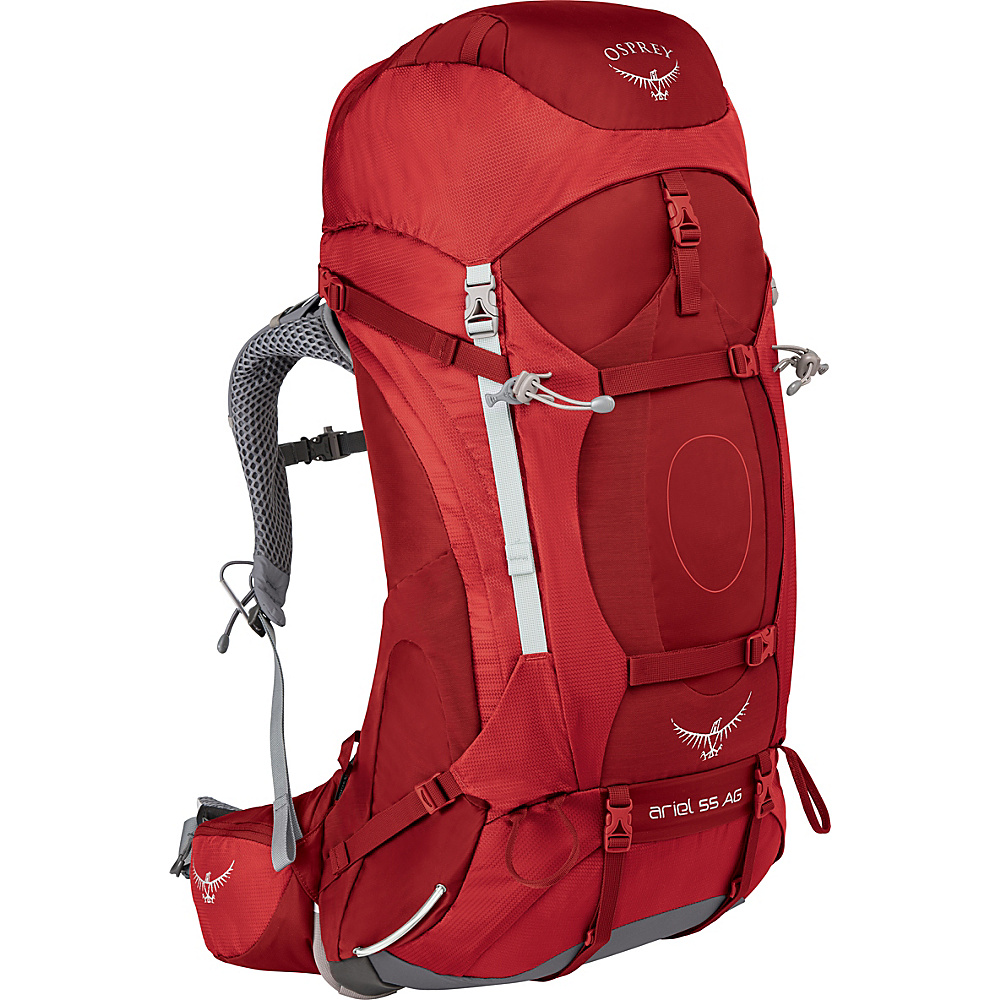 Osprey Womens Ariel AG 55 Hiking Pack Picante Red – WS - Osprey Backpacking Packs - Outdoor, Backpacking Packs