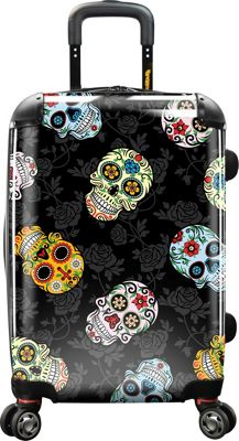 Loudmouth 22 inch Sugar Skulls Personalized Expandable Carry-On Spinner Multi-Color & Black - Loudmouth Kids' Luggage