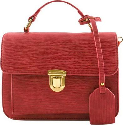 SW Global Alice Structure Satchel Red - SW Global Manmade Handbags