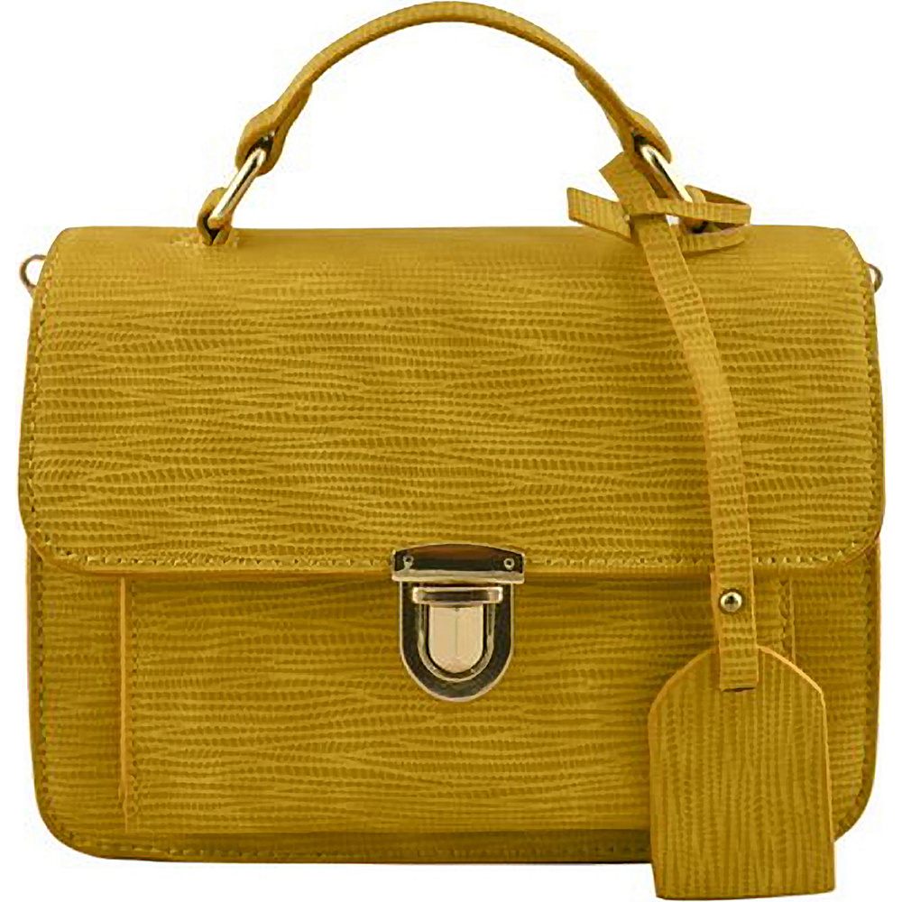 SW Global Alice Structure Satchel Yellow - SW Global Manmade Handbags - Handbags, Manmade Handbags
