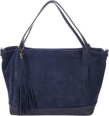 Lisa Minardi Convertible Suede Shoulder Bag Blue - Lisa Minardi Leather Handbags