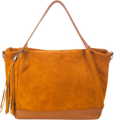 Lisa Minardi Convertible Suede Shoulder Bag Cognac - Lisa Minardi Leather Handbags