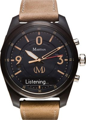 Martian Watches Martian PT 01 Smartwatch Black Dial / Black Case / Light Beige Leather Stra - Martian Watches Wearable Technology
