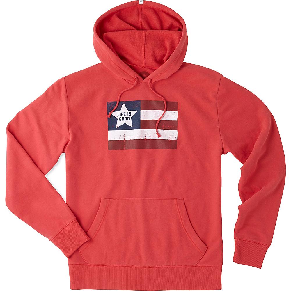 Life is good Mens Go-To Hoodie LIG Pattern S - Americana Red - Life is good Mens Apparel - Apparel & Footwear, Men's Apparel