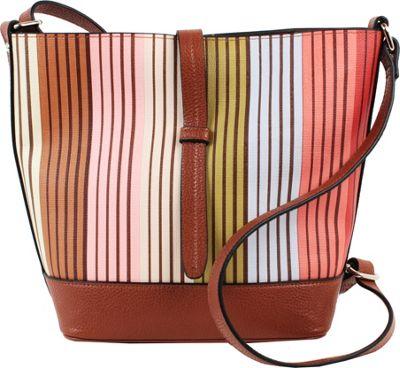 Emilie M Loren Crossbody Bucket Multi Stripe - Emilie M Leather Handbags