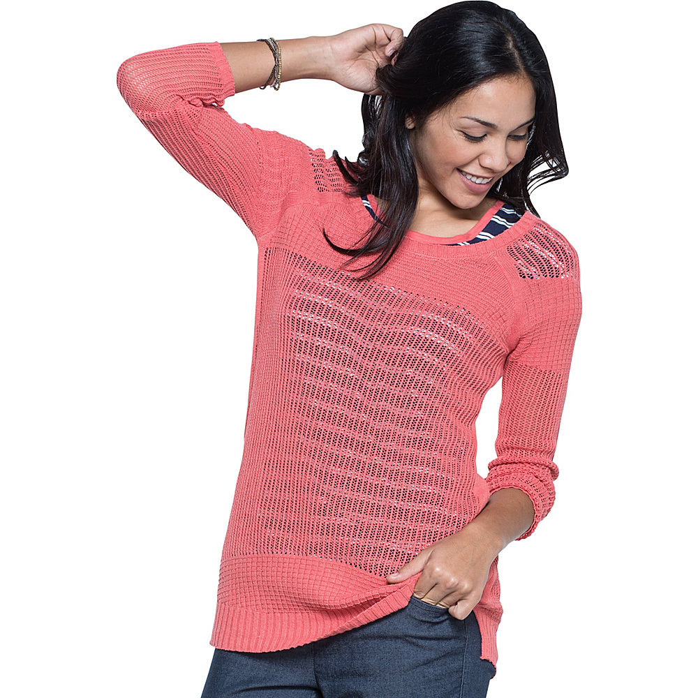 Toad & Co Floreana 3/4 Sweater S - Spiced Coral - Toad & Co Womens Apparel - Apparel & Footwear, Women's Apparel