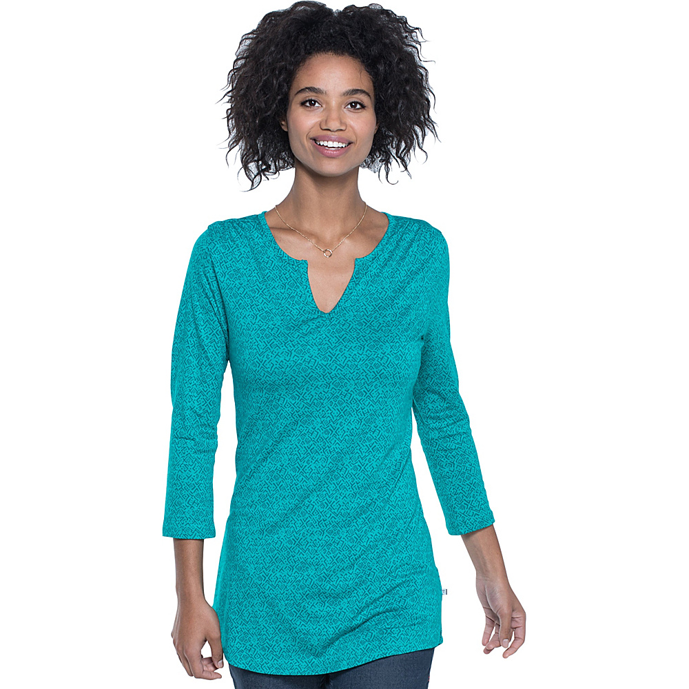 Toad & Co Tamaya Dos Tunic L - Turquoise Cove Geo Print - Toad & Co Womens Apparel - Apparel & Footwear, Women's Apparel