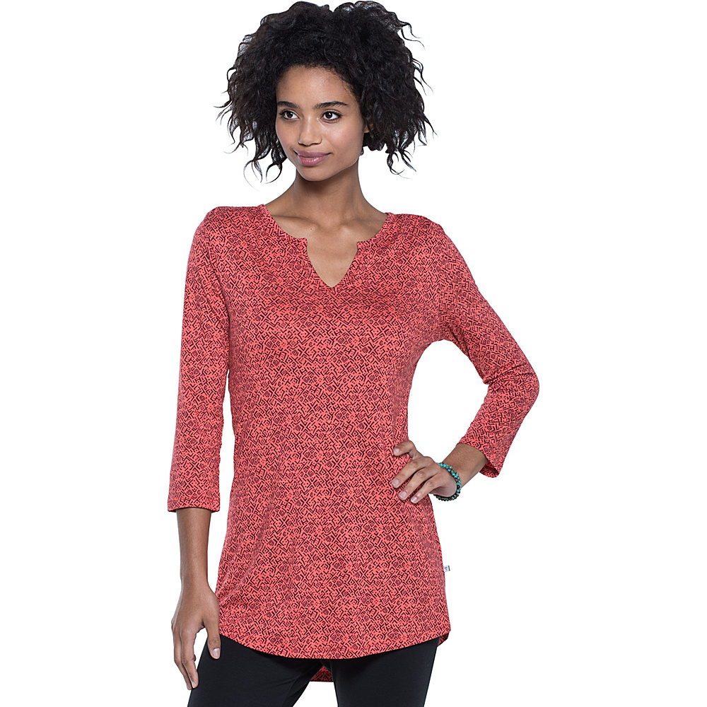 Toad & Co Tamaya Dos Tunic L - Spiced Coral Geo Print - Toad & Co Womens Apparel - Apparel & Footwear, Women's Apparel