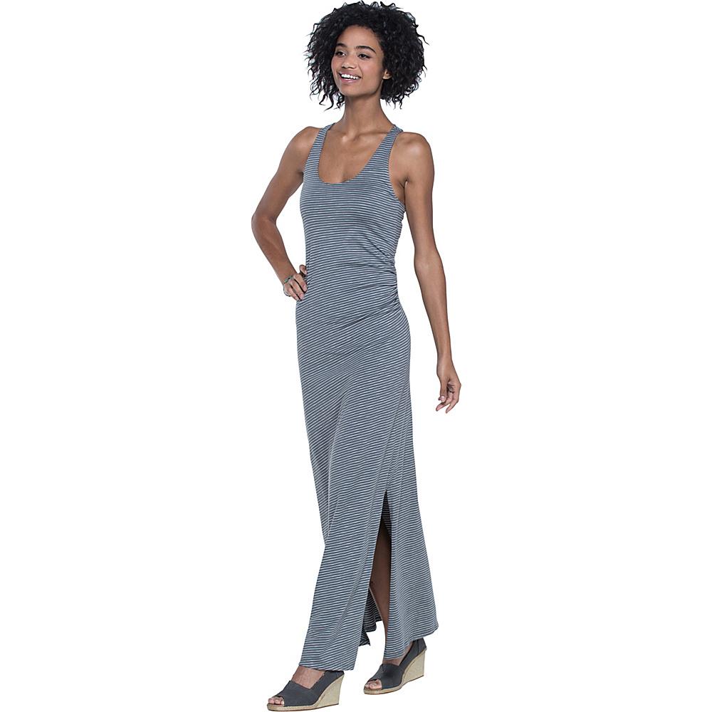 Toad & Co Montauket Long Dress L - Smoke Lean Stripe - Toad & Co Womens Apparel - Apparel & Footwear, Women's Apparel
