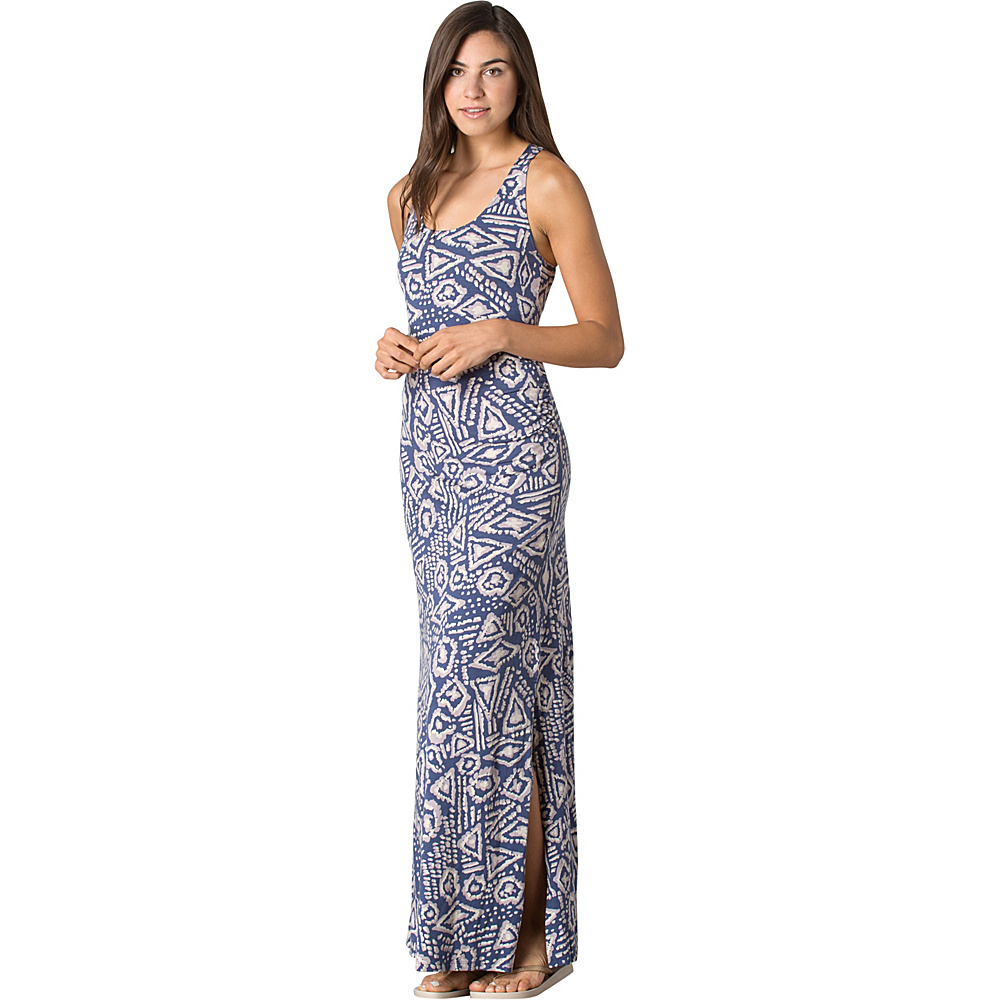 Toad & Co Montauket Long Dress M - Indigo Brush Print - Toad & Co Womens Apparel - Apparel & Footwear, Women's Apparel