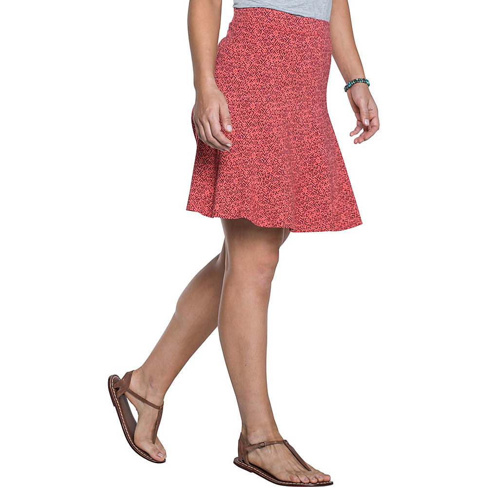 Toad & Co Chachacha Skirt L - Spiced Coral Geo Print - Toad & Co Womens Apparel - Apparel & Footwear, Women's Apparel