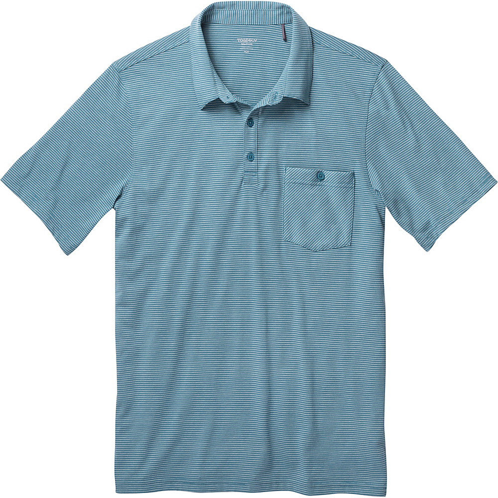Toad & Co Embarko Short Sleeve Polo M - Hydro Stripe - Toad & Co Mens Apparel - Apparel & Footwear, Men's Apparel
