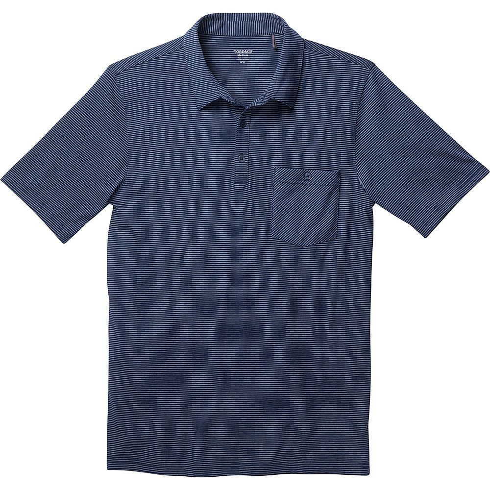Toad & Co Embarko Short Sleeve Polo L - Deep Navy Stripe - Toad & Co Mens Apparel - Apparel & Footwear, Men's Apparel