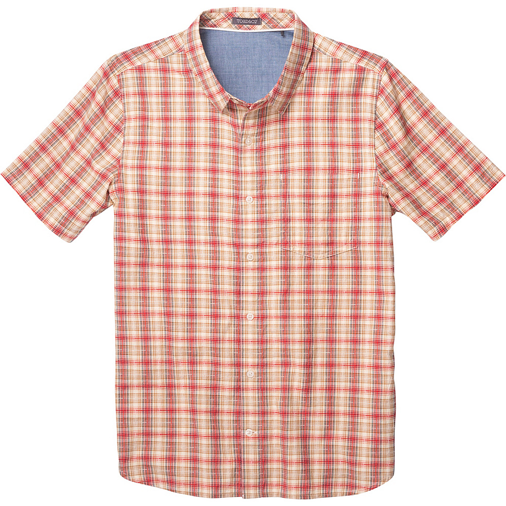 Toad & Co Airscape Short Sleeve Shirt L - Frigate Red - Toad & Co Mens Apparel - Apparel & Footwear, Men's Apparel