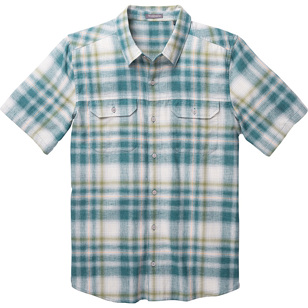 Toad & Co Hookline Short Sleeve Shirt L - Hydro - Toad & Co Mens Apparel - Apparel & Footwear, Men's Apparel