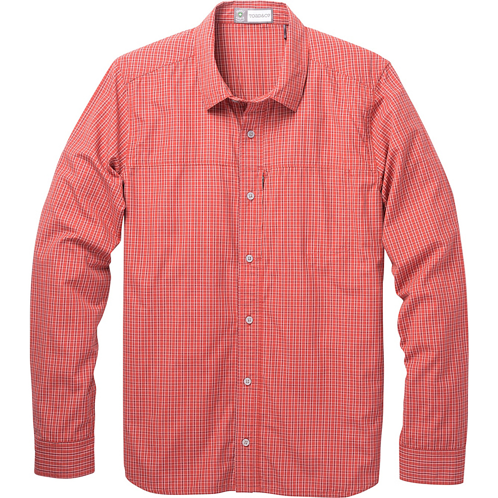 Toad & Co Debug Quick-Dry Long Sleeve Shirt L - Red Clay - Toad & Co Mens Apparel - Apparel & Footwear, Men's Apparel