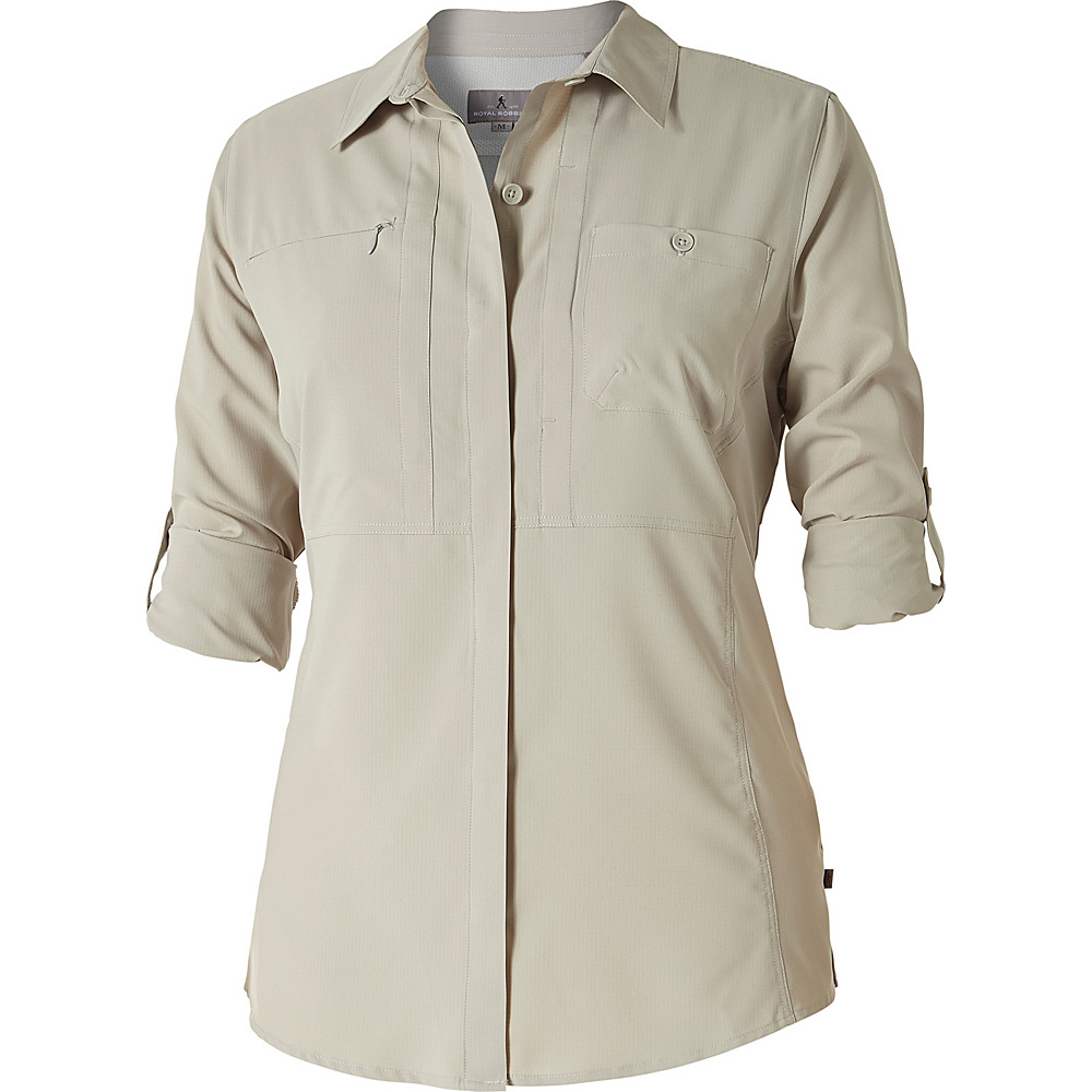 Royal Robbins Womens Expedition Chill Long Sleeve Shirt M - Soapstone - Royal Robbins Womens Apparel - Apparel & Footwear, Women's Apparel