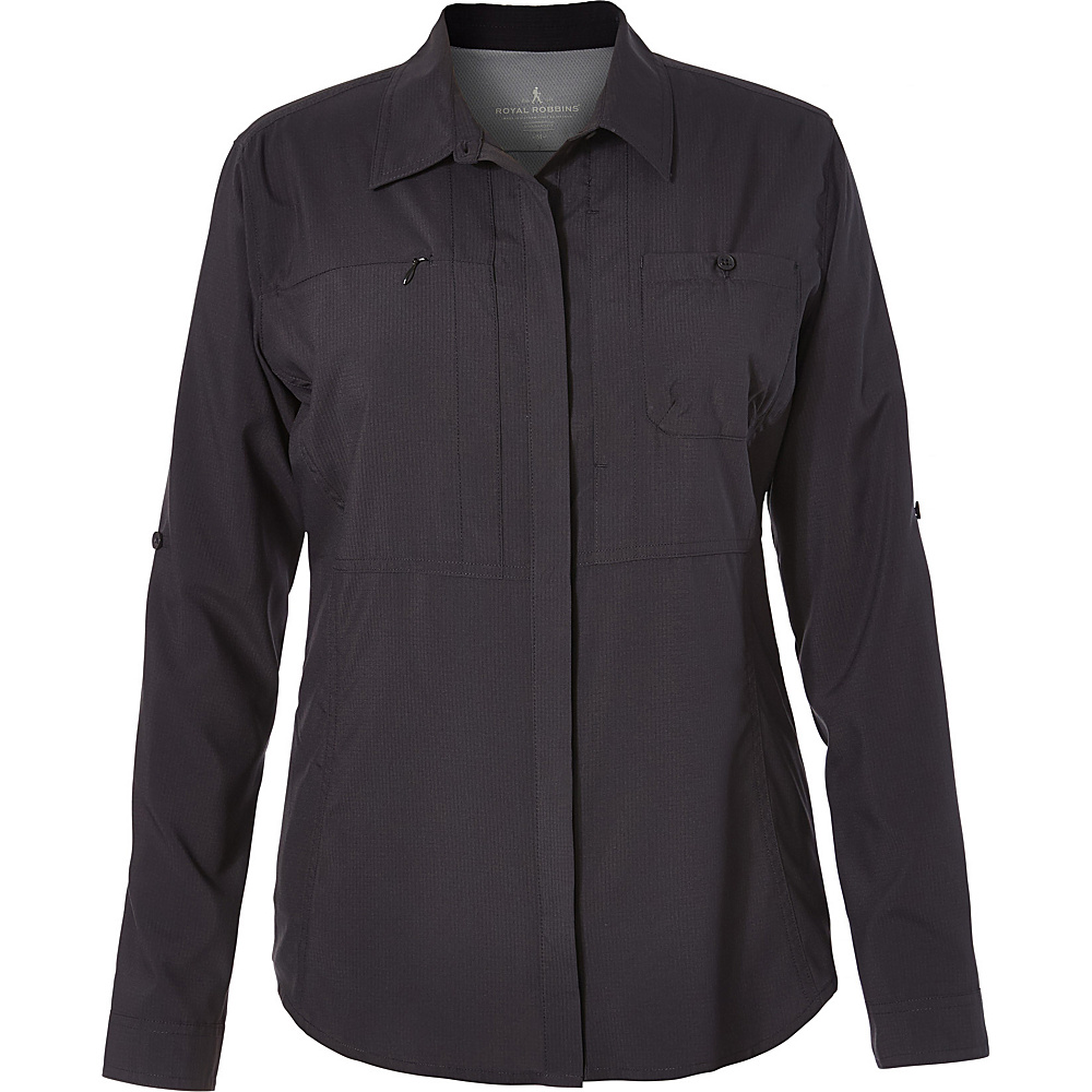 Royal Robbins Womens Expedition Chill Long Sleeve Shirt L - Jet Black - Royal Robbins Womens Apparel - Apparel & Footwear, Women's Apparel