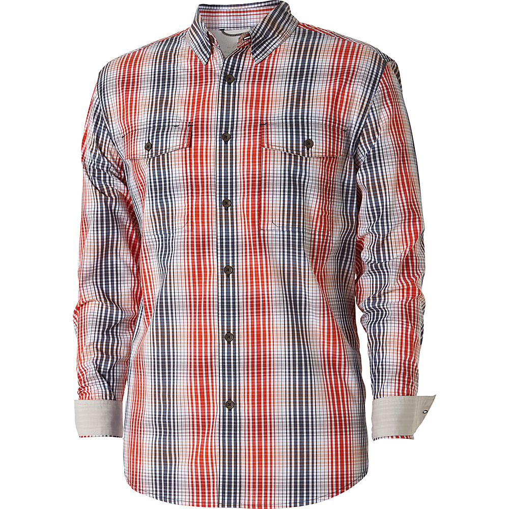 Royal Robbins Mens Vista Chill Plaid Long Sleeve Shirt L - Crimson - Royal Robbins Mens Apparel - Apparel & Footwear, Men's Apparel