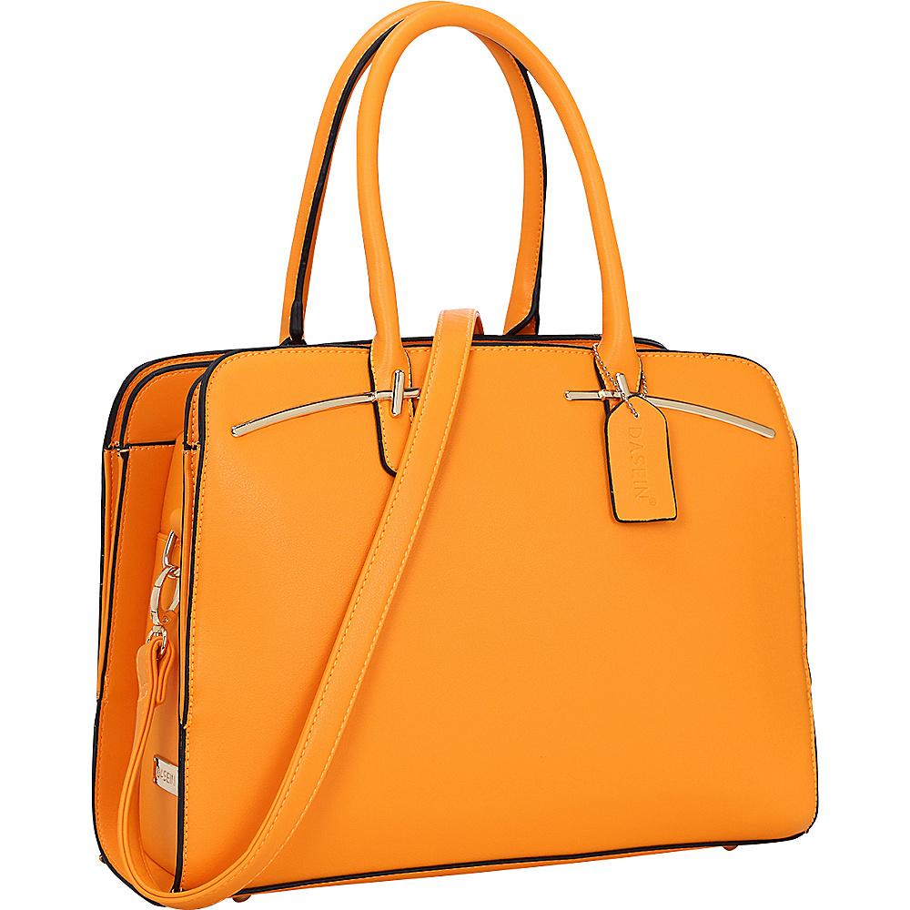Dasein Faux Leather Double Magnetic Closure Satchel Orange - Dasein Manmade Handbags - Handbags, Manmade Handbags