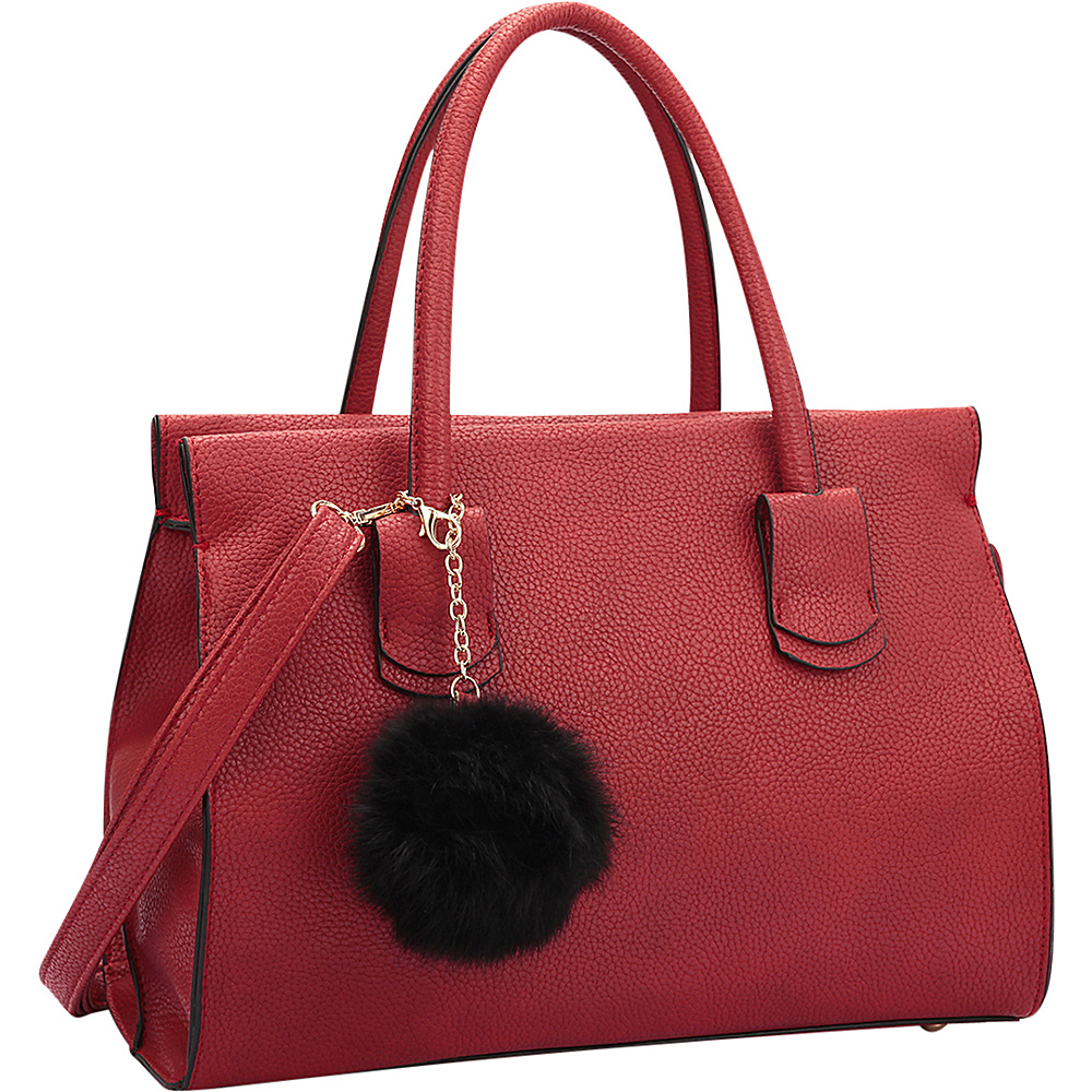 Dasein Leather Handle Satchel with Faux Fur Ball Red - Dasein Manmade Handbags - Handbags, Manmade Handbags