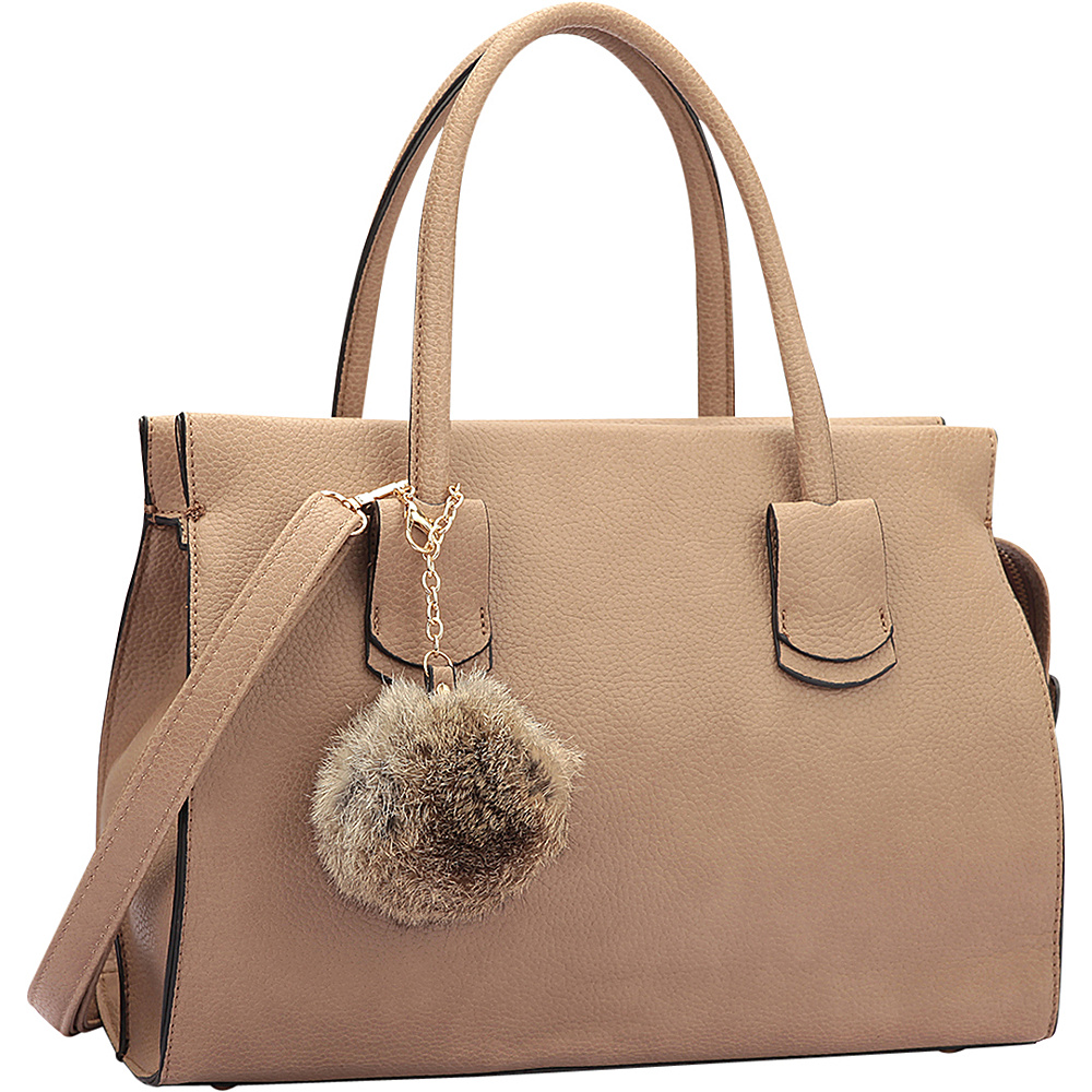 Dasein Leather Handle Satchel with Faux Fur Ball Stone - Dasein Manmade Handbags - Handbags, Manmade Handbags