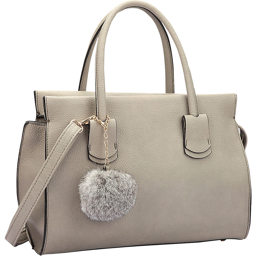 Dasein Leather Handle Satchel with Faux Fur Ball Grey - Dasein Manmade Handbags - Handbags, Manmade Handbags