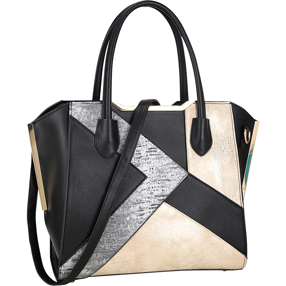 Dasein Tote Bag with Semi Metallic Patch Design Black - Dasein Manmade Handbags - Handbags, Manmade Handbags