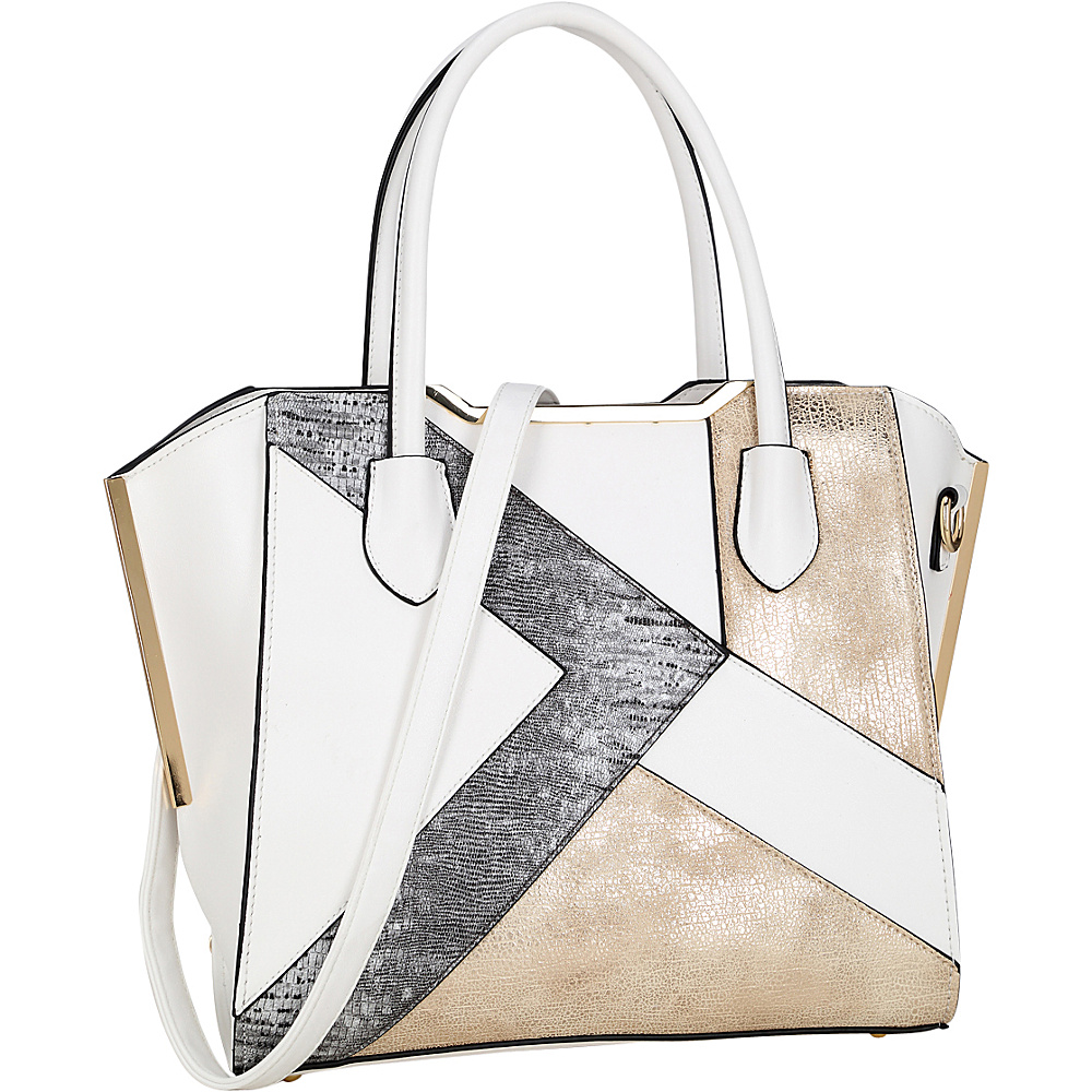 Dasein Tote Bag with Semi Metallic Patch Design White - Dasein Manmade Handbags - Handbags, Manmade Handbags