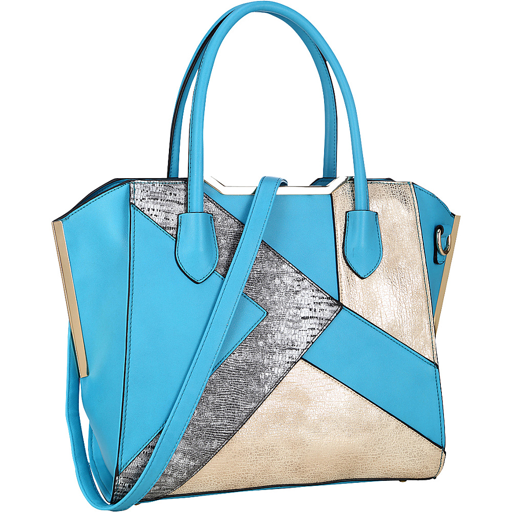 Dasein Tote Bag with Semi Metallic Patch Design Turquoise - Dasein Manmade Handbags - Handbags, Manmade Handbags