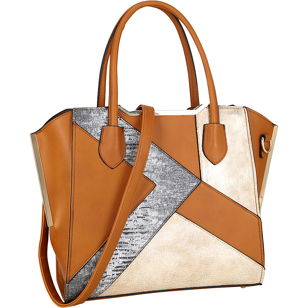 Dasein Tote Bag with Semi Metallic Patch Design Brown - Dasein Manmade Handbags - Handbags, Manmade Handbags