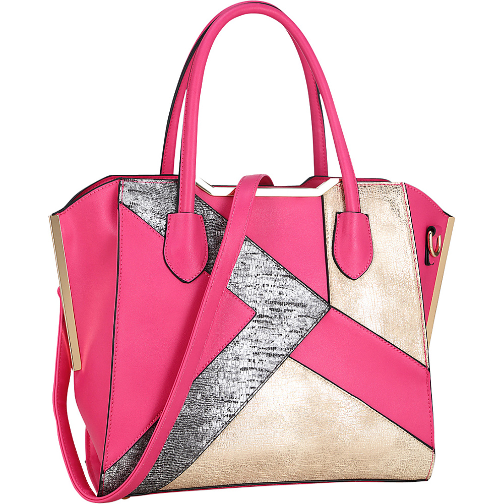Dasein Tote Bag with Semi Metallic Patch Design Fuchsia - Dasein Manmade Handbags - Handbags, Manmade Handbags