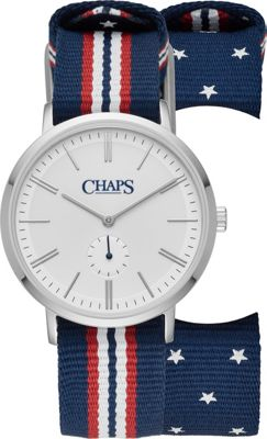 Chaps Dunham Stainless-Steel and Multicolored Grosgrain Three-Hand Watch Blue - Chaps Watches