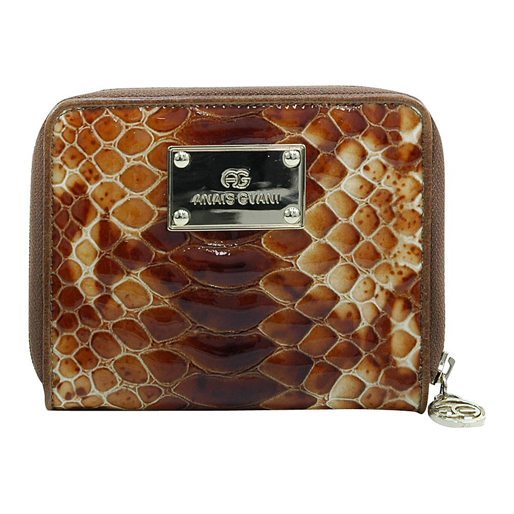 Dasein Womens Snakeskin Zip-Around Wallet with Gold Logo Emblem Brown/Brown - Dasein Womens Wallets - Women's SLG, Women's Wallets