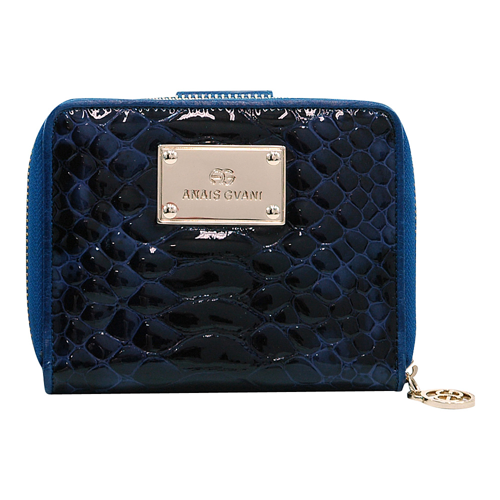 Dasein Womens Snakeskin Zip-Around Wallet with Gold Logo Emblem Blue/Blue - Dasein Womens Wallets - Women's SLG, Women's Wallets