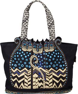 Polka Dot Gatos Large Cutout Shoulder Tote Polka Dot Gatos - Laurel Burch Fabric Handbags