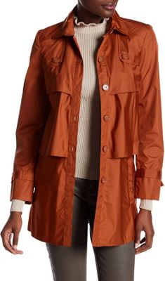 Rolo & Ale Andrea Long Sleeve Tiered Utility Trench Coat 12 - Orange - Rolo & Ale Women's Apparel