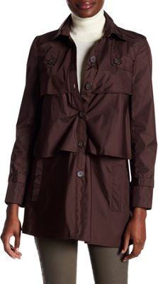 Rolo & Ale Andrea Long Sleeve Tiered Utility Trench Coat 10 - Brown - Rolo & Ale Women's Apparel