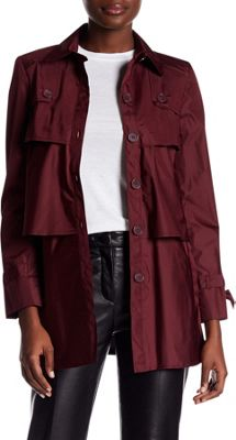 Rolo & Ale Andrea Long Sleeve Tiered Utility Trench Coat 2 - Plum - Rolo & Ale Women's Apparel