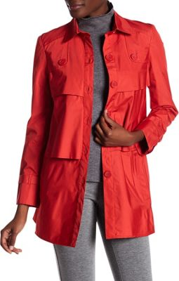 Rolo & Ale Andrea Long Sleeve Tiered Utility Trench Coat 8 - Red - Rolo & Ale Women's Apparel